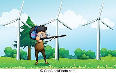 devant, garçon, éoliennes, tir