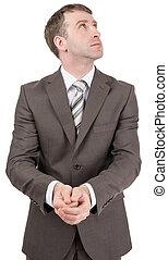 devant, homme affaires, lui, tenant mains