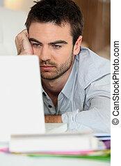 devant, informatique, homme, fatigué