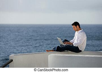 devant, informatique, mer, homme