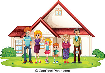 devant, maison, grand, famille, leur