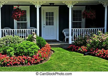 devant, maison, yard