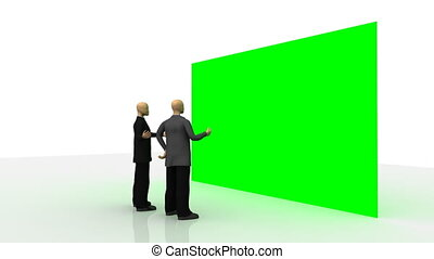 devant, mur vert, 3d-men