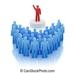 devant, orateur, gens, parler