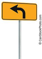 devant, parcours, isolé, signe jaune, virage, perspective, route, gauche