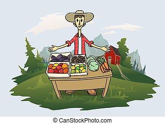 devant, paysage, plat, vecteur, illustration., caractère, herbe, fruits, rigolote, arbres, paysan, présentez montagne, debout, vegitables, dessin animé, arrière-plan., jeune