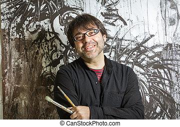 devant, peinture, poser, peintre, artiste