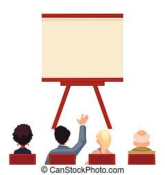 devant, présentation, planche, professionnels