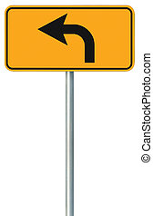 devant, signe, parcours, isolé, jaune, virage, bord route, route, gauche
