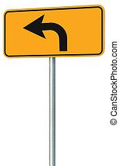 devant, signe, parcours, isolé, jaune, virage, route, gauche