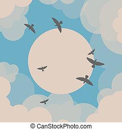 devant, soleil, voler, oiseaux