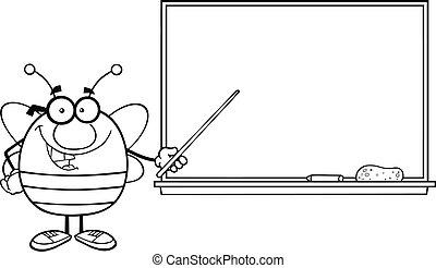 devant, tableau noir, esquissé, abeille