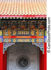 devant, temple, chinois
