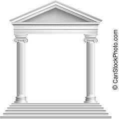 devant, temple, colonnes