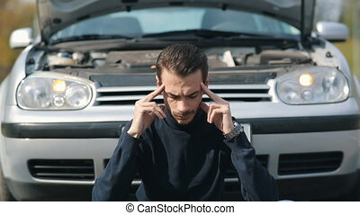 devant, voiture, mal tête, homme, cassé