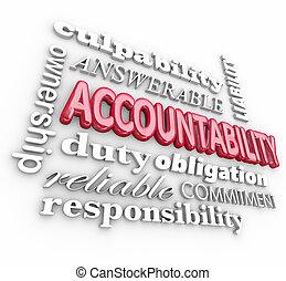 devoir, culpabilité, mot, collage, accountability, responsabilité, 3d