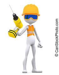 devoir, ouvrier construction, perceuse électrique