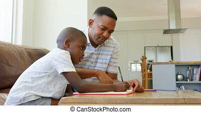 devoirs, noir, maison, sien, côté, confortable, vue, père, portion, 4k, fils, jeune