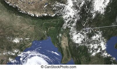 dhaka, parcours, voler, commercial, carte, avion, bangladesh, animation, 3d