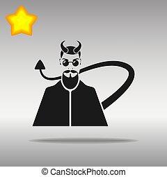 diable, bouton, noir, logo, symbole, icône