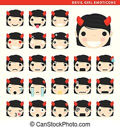 diable, girl, emoticons