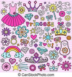 diadème, ensemble, princesse, doodles, cahier