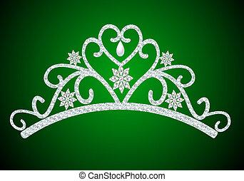 diadème, mariage, vert, perle, féminin