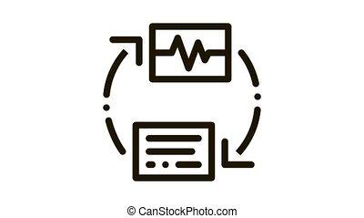 diagnostic, voix, contrôle, icône, animation, sans fil