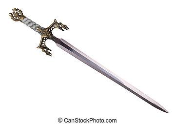 diagonal, isolé, disposé, arrière-plan., épée, blanc