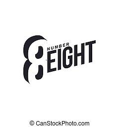 diagonal, nombre, noir, gabarit, logo, blanc, eightx