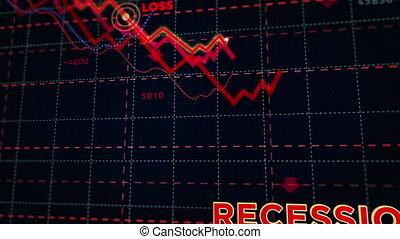 diagramme action, récession, marchés, bas