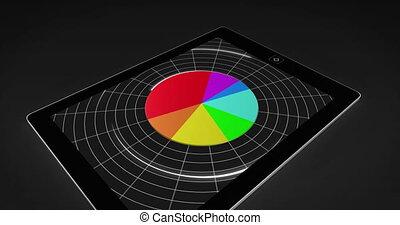diagramme, coloré, 3d, pc tablette, tarte
