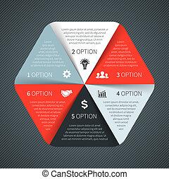 diagramme, concept, processes., business, parties, infographic., graphique, chart., arrière-plan., vecteur, étapes, gabarit, 6, résumé, cercle, présentation, ou, options