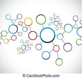 diagramme, connexion, réseau