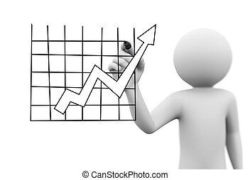 diagramme, croissance, levée, flèche, homme, dessin, 3d