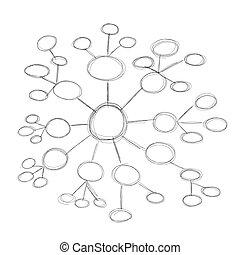 diagramme, croquis, conception, ton, bloc