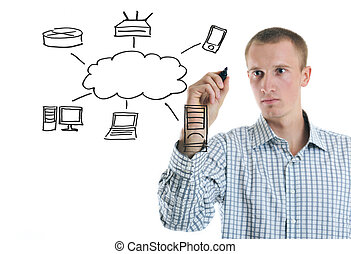 diagramme, dessiner, calculer, homme, nuage, business