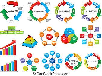 diagramme, graphique, business, collection