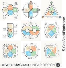 diagramme, graphique, linéaire, &, graphique, chart., infographic, conception, gabarit, ligne, présentation, rond, éléments, cycle