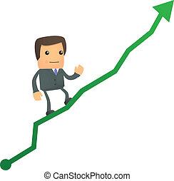 diagramme, homme affaires, haut, dessin animé, escalade