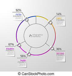 diagramme, infographics, tarte, élément