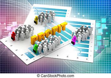 diagramme, profit, professionnels