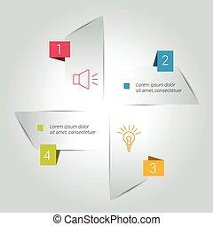 diagramme, quatre, module., diagramme, étapes, flèche, plan