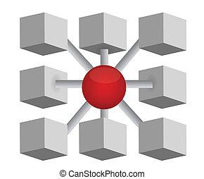 diagramme, sphère, cubes, réseau