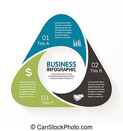 diagramme, triangle, infographic, options, 3, parts.