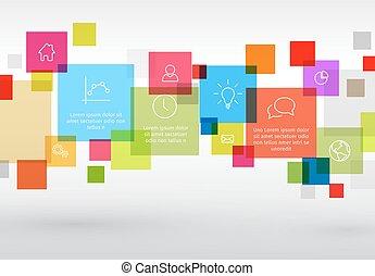 diagramme, vecteur, divers, descriptif, carrés