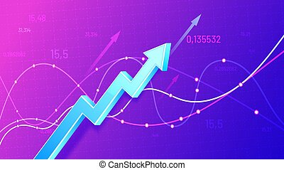 diagramme, vecteur, marché, business, profit, développement, tendance, revenu, illustration., finance, statistique, réussi, stockage, horaire, increase., croissance, positif, financier, croissant, arrow., 3d, levée