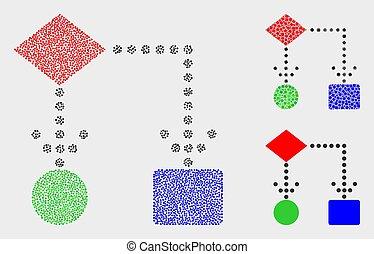 diagramme, vecteur, pointillé, bloc, icônes