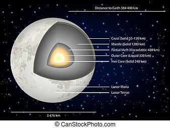 diagramme, vecteur, structure, illustration, lune