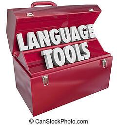 dialecte, école, apprentissage, langue, étranger, mots, boîte outils, outils